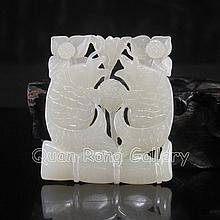 Hand-carved Chinese Natural White Hetian Jade Pendant - Pair Lucky Fish & Lotus Flower