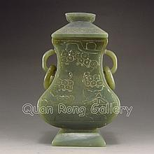 Hand Carved Chinese Natural Hetian Jade Double Ring Bottle