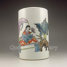 Chinese Famille Rose Porcelain Brush Pot w Marked