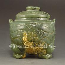 Hand Carved Chinese Natural Hetian Jade Home Incense Burner