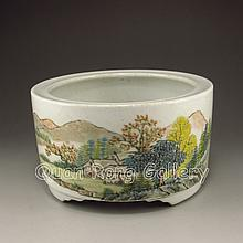 Chinese Hand-painted Su Colors Porcelain Brush Washer w Mark