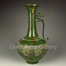 Chinese Colored Brass Vase w Chi Dragon