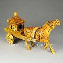 Hand-carved Chinese Bone Statue - Horse & Cart