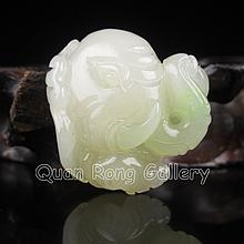 Hand Carved Chinese Natural Hetian Jade Pendant - Elephant Head