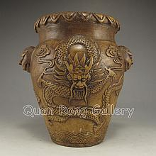 Handmade Chinese Pottery Pot w Dragons