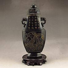 Excellent Chinese Natural Deep Green Hetian Jade Intaglio Double-ring Bottle Carved Dragon & Poetry