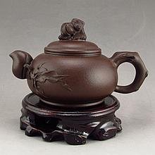 Fine Chinese Yixing Zisha Clay Teapot w Monkey & Artist Signed