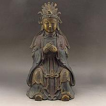 Chinese Bronze Carved Kwan-yin Statue