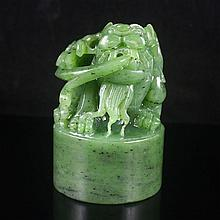 Chinese Natural Green Hetian Jade Seal Statue