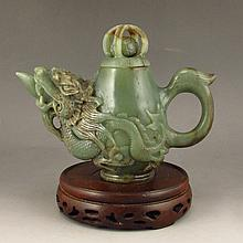 Hand Carved Chinese Natural Hetian Jade Dragon Head Wine Pot