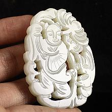 Hollow Out Carved Chinese Natural Hetian Jade Pendant - Fortune Kid