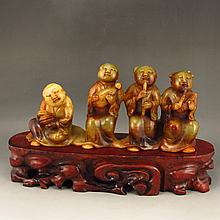 Vintage Hand Carved Chinese Natural Hetian Jade Music Men & Women Statue