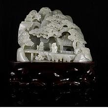 Chinese Natural Hetian Jade Statue w Man & Pine Tree