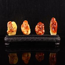 A Set Four Piece Hand Carved Chinese Natural Shoushan Stone Statue - Lyre-playing, Chess, Calligraphy and Painting