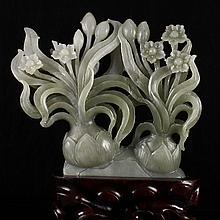 Superb Hand Carved Chinese Natural Hetian Jade Statue - Daffodils
