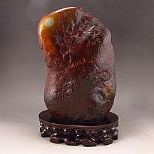 Huge Genuine Chinese Natural Hetian Jade Original Stone Statue