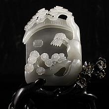 Hand Carved Chinese Natural Hetian Jade Statue w Pine Tree & Plum Flower