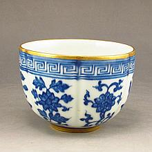 Hand-painted Chinese Gilt Blue And White Porcelain Cup w Qian Long Mark