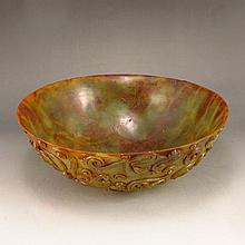 Chinese Natural Hetian Jade Chi Dragon Big Bowl
