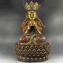 Superb Chinese Ming Dy Style Brass Lotus Buddha Statue w Yongle Mark