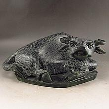 Hand Carved Chinese Natural Jade Water Buffalo Statue