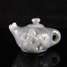 Hand Carved Chinese Natural Hetian Jade Teapot Statue