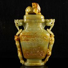 Hand Carved Chinese Hetian Jade Bottle w Fortune Beast