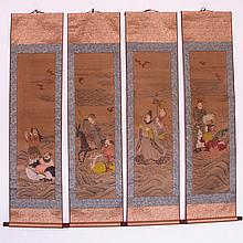 A Set Hand Draw Xuan Paper Painting w Eight Taoism Character