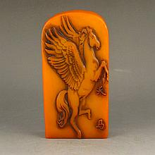 Natural Shoushan Stone Seal Statue - Pegasus & Poetry