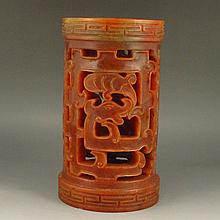 Hollow-out Carved Chinese Natural Shoushan Stone Brush Pot w Dragon
