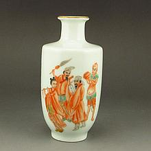 Hand-painted Chinese Gilt Edges Lron Red Glaze Porcelain Vase w Qian Long Mark