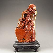 Superb Hand Carved Chinese Shoushan Stone Statue - Three Brothers in Romance of Three Kingdoms
