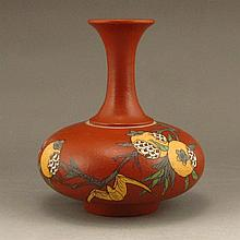 Hand Draw Chinese Purple Clay Long Neck Vase w Pomegranate