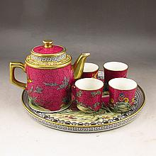 A Set Hand-painted Chinese Gilt Edges Famille Rose Porcelain Teapot Cups Plate