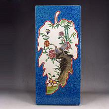 Hand-painted Chinese Blue Ground Famille Rose Porcelain Vase w Marked