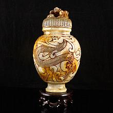 Hand Carved Chinese Natural Hetian Jade Bottle w Dragon
