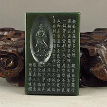 Chinese Natural Deep Green Hetian Jade Pendant Carved Kwan-yin & Heart Sutra
