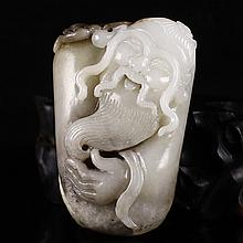 Chinese Natural Hetian Jade Pendant - Long Life Old Man