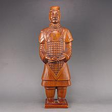Hand Carved Chinese Natural Boxwood Statue - Ancient Soldier