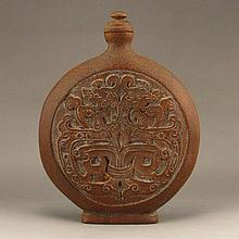 Chinese Natural Bamboo Carved Moon Bottle w Lucky Design
