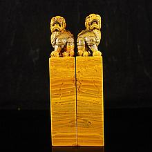 A Pair Hand Carved Chinese Natural Shoushan Stone Seal w Lion
