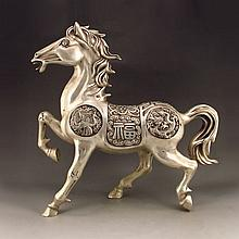 Chinese White Copper Carved Horse Statue w Lucky Design