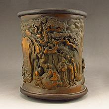 Hand Carved Chinese Natural Bamboo Brush Pot w Playing Chess Old Men