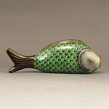 Hand Drew Chinese Gilded Enamels Porcelain Fish Form Snuff Bottle w Qianlong Mark