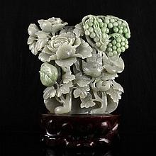 Superb Hand Carved Chinese Natural Hetian Jade Statue w Bird , Peony & Grape