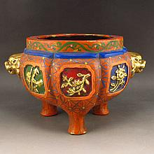 Chinese Brass Gild Edges Carved Flower Colored Temple Incense Burner w Xuan De Mark