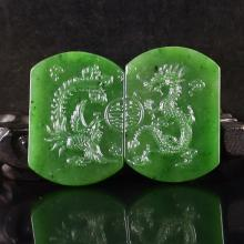 A Pair Hand Carved Chinese Natural Green Hetian  Jade Pendant w Dragon & Phoenix