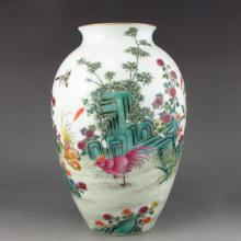 Hand-painted Chinese Qing Dy Style Famille Rose Porcelain Vase w Birds & Flowers