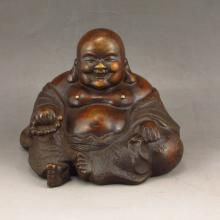 Hand Carved Chinese Bronze Laughing Buddha Statue w Daqing Mark