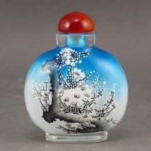 Beautiful Chinese Bejing/Peking Glass Snuff Bottle w Bird & Tree